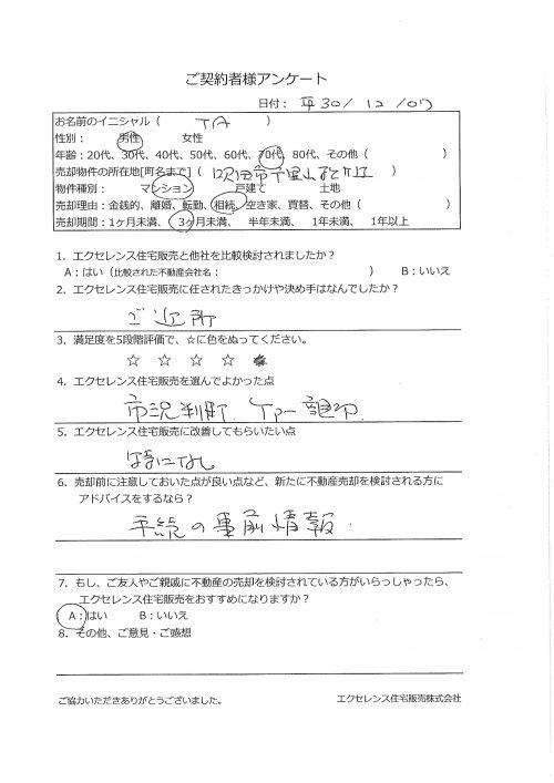 吹田市千里山松ヶ丘のマンション売却(TA様)のアンケート画像
