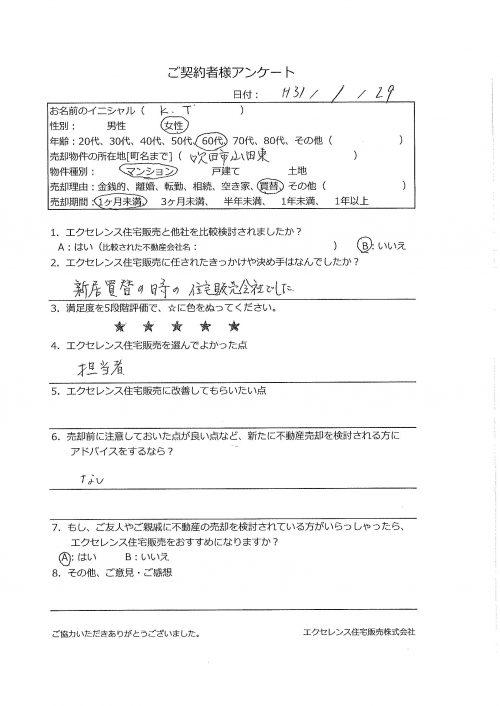 吹田市山田東のマンション売却(KT様)のアンケート画像