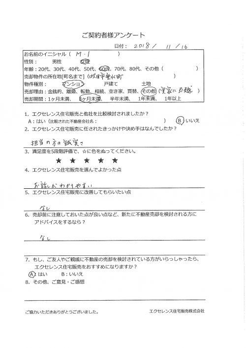 吹田市垂水町のマンション売却(MI様)のアンケート画像