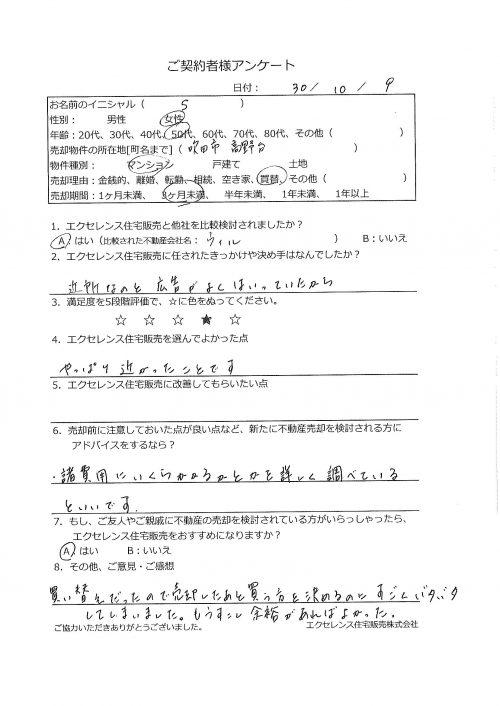 吹田市高野台のマンション売却(S様)のアンケート画像